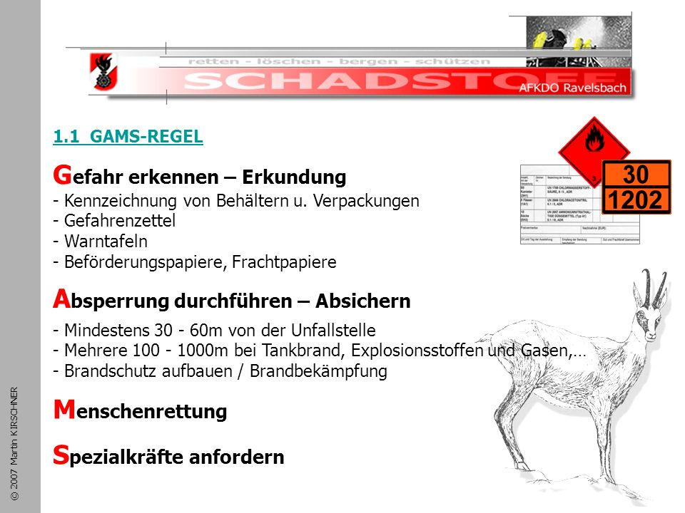 Schadstoffeinsatz 1.1 GAMS-REGEL. Gefahr erkennen – Erkundung - Kennzeichnung von Behältern u. Verpackungen.