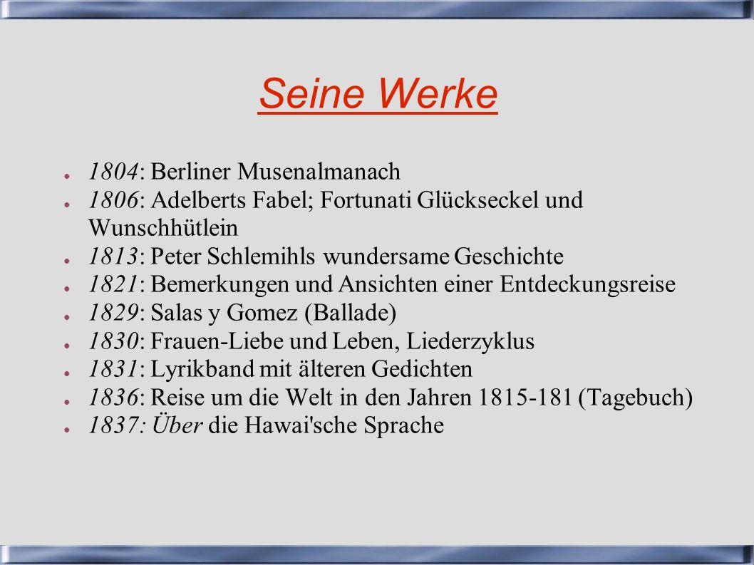 Seine Werke 1804: Berliner Musenalmanach