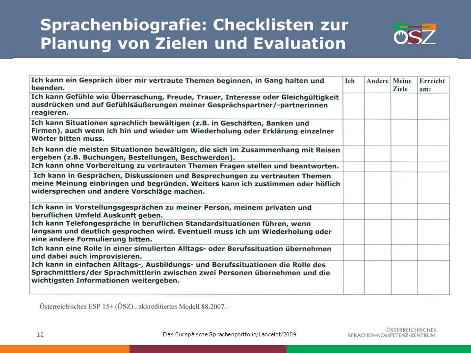 Sprachenbiografie: Checklisten zur Planung von Zielen und Evaluation