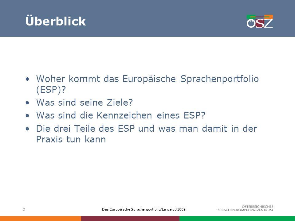 Überblick Woher kommt das Europäische Sprachenportfolio (ESP)