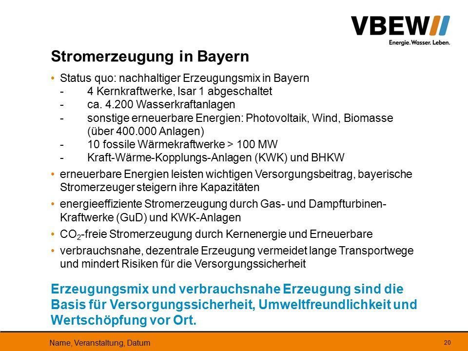 Stromerzeugung in Bayern