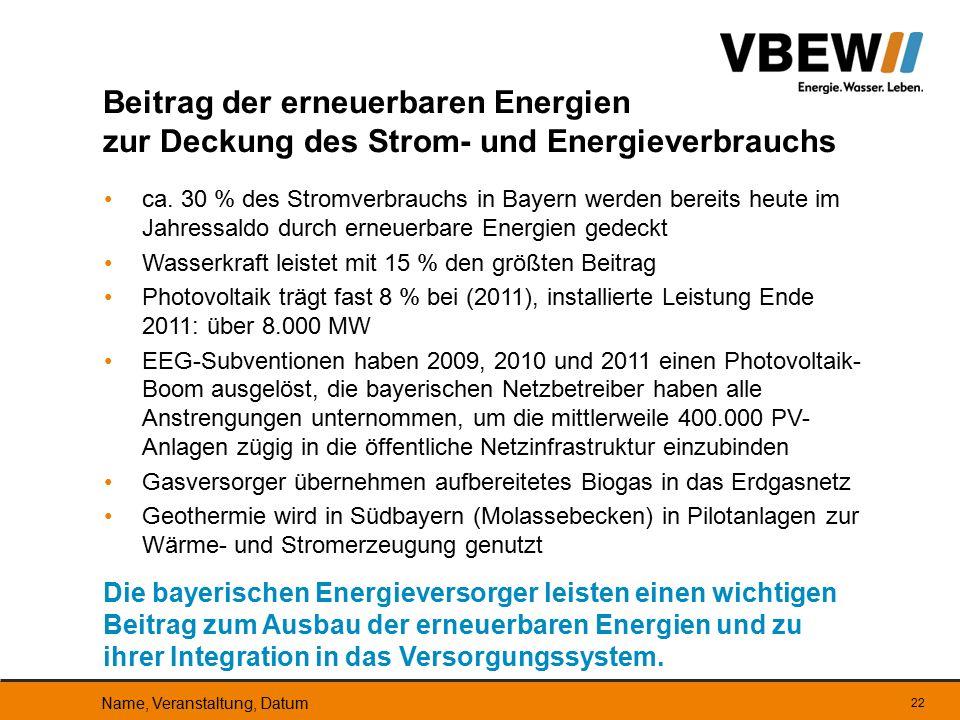 Beitrag der erneuerbaren Energien zur Deckung des Strom- und Energieverbrauchs