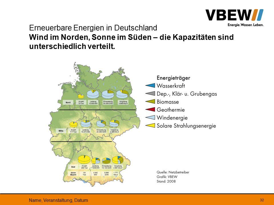 Erneuerbare Energien in Deutschland Wind im Norden, Sonne im Süden – die Kapazitäten sind unterschiedlich verteilt.