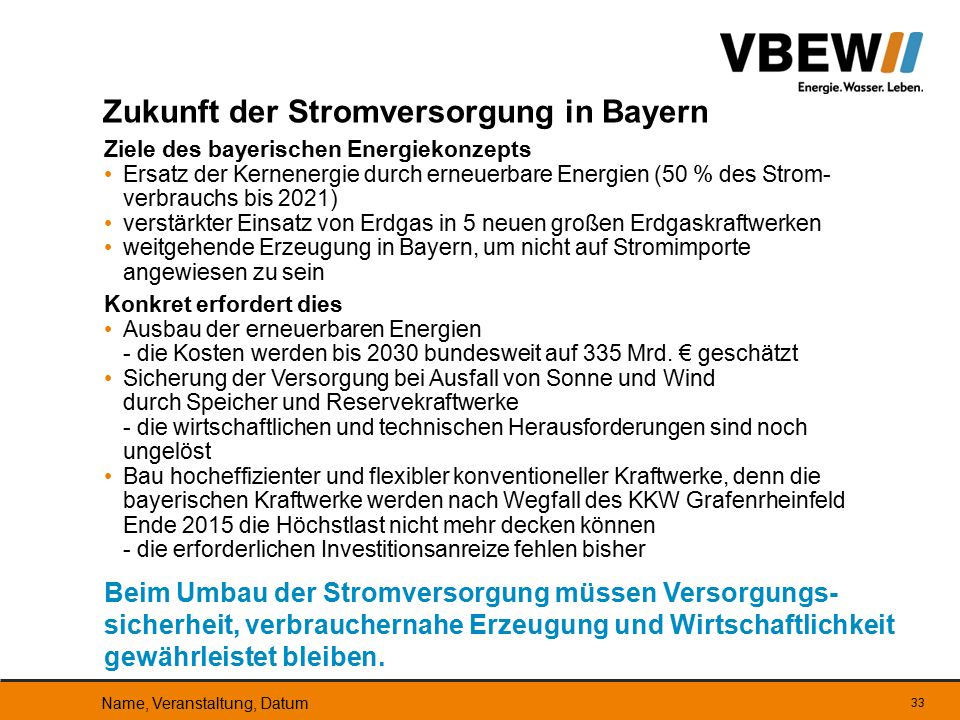 Zukunft der Stromversorgung in Bayern