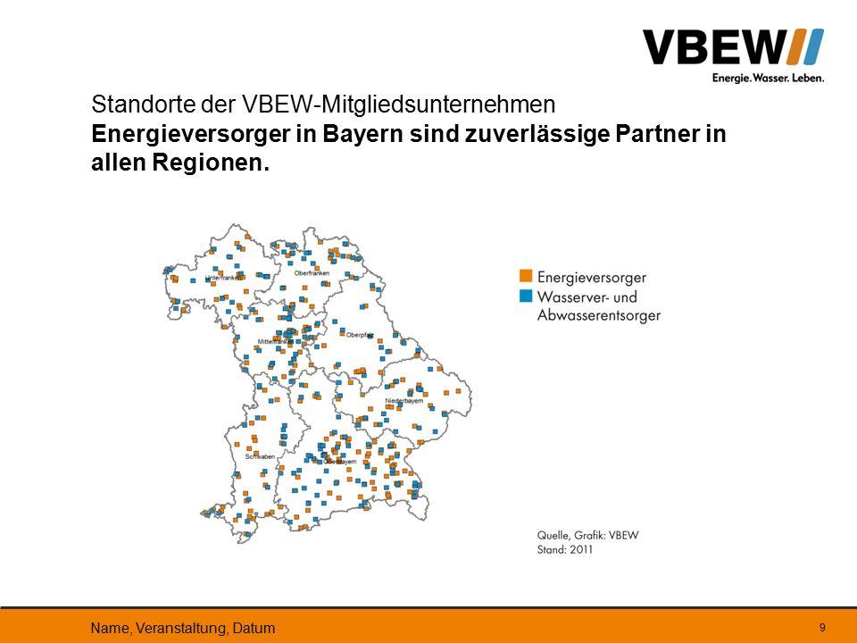 Standorte der VBEW-Mitgliedsunternehmen Energieversorger in Bayern sind zuverlässige Partner in allen Regionen.