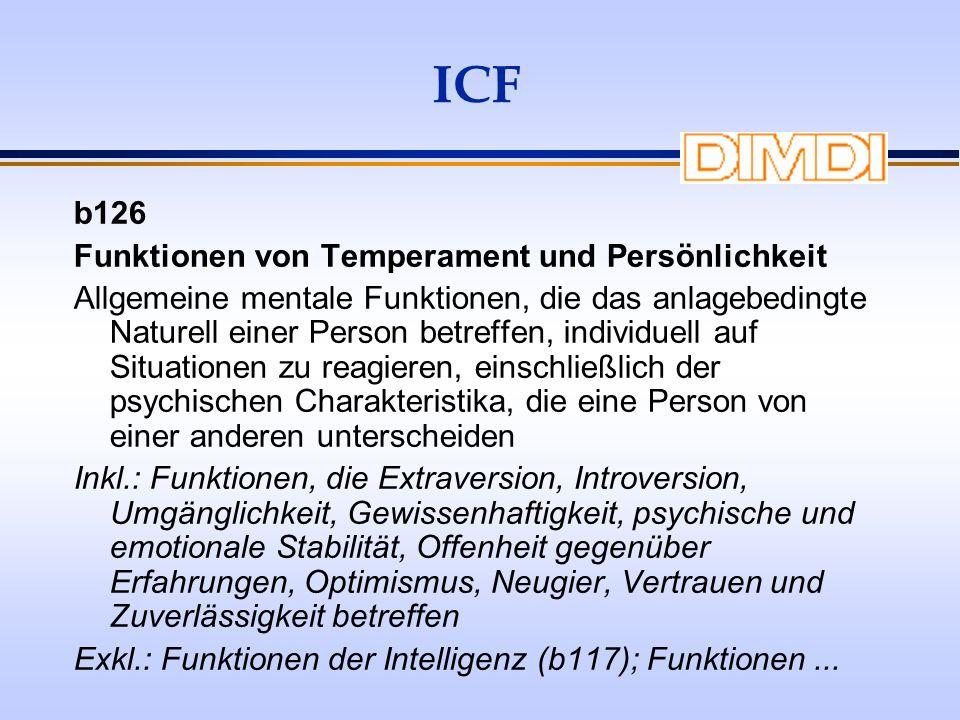 ICF b126 Funktionen von Temperament und Persönlichkeit