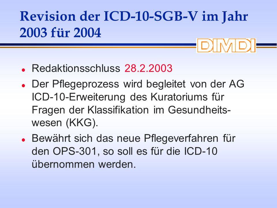 Revision der ICD-10-SGB-V im Jahr 2003 für 2004