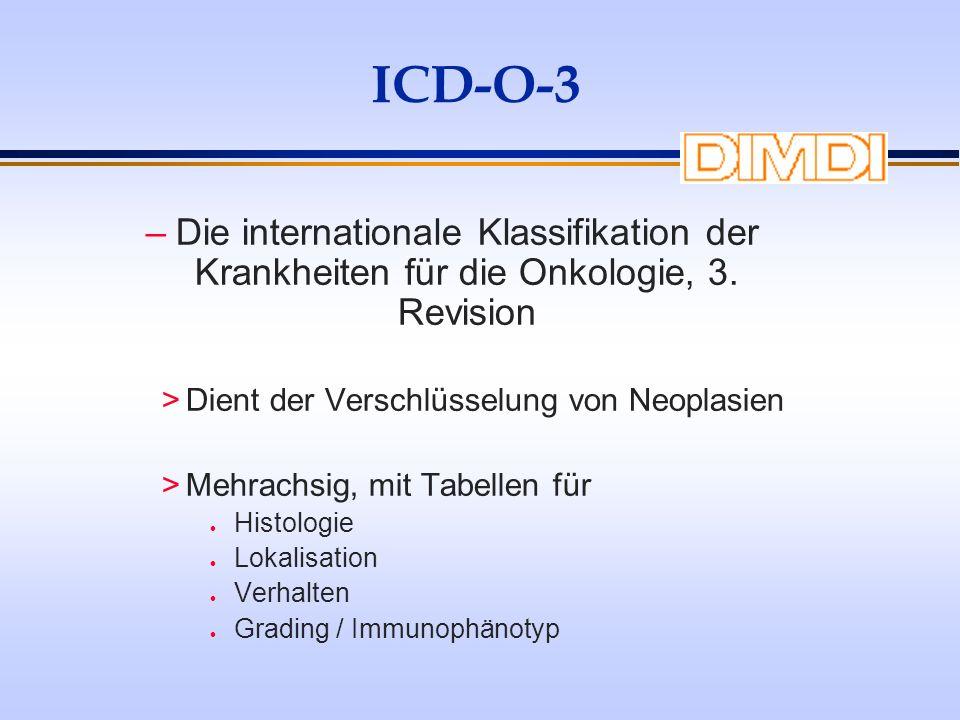 ICD-O-3 Die internationale Klassifikation der Krankheiten für die Onkologie, 3. Revision. Dient der Verschlüsselung von Neoplasien.