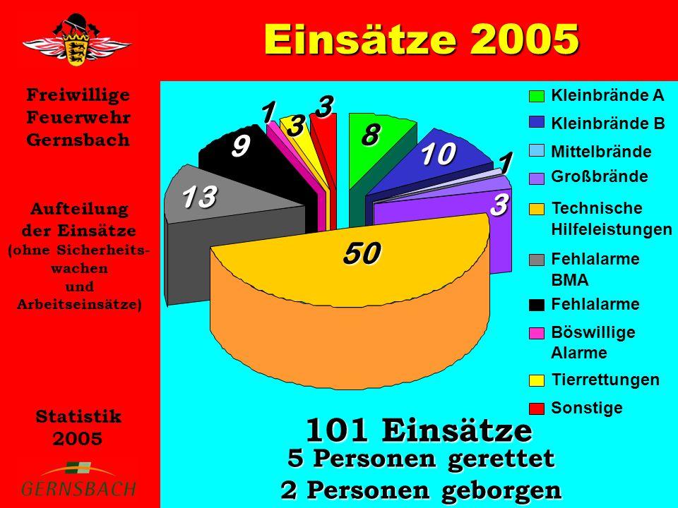 Einsätze 2005 101 Einsätze 3 1 3 8 9 10 1 13 3 50 5 Personen gerettet