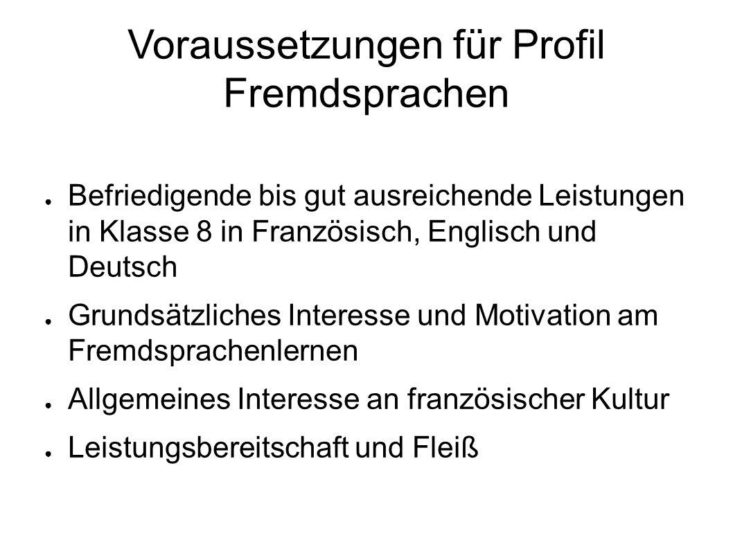Voraussetzungen für Profil Fremdsprachen