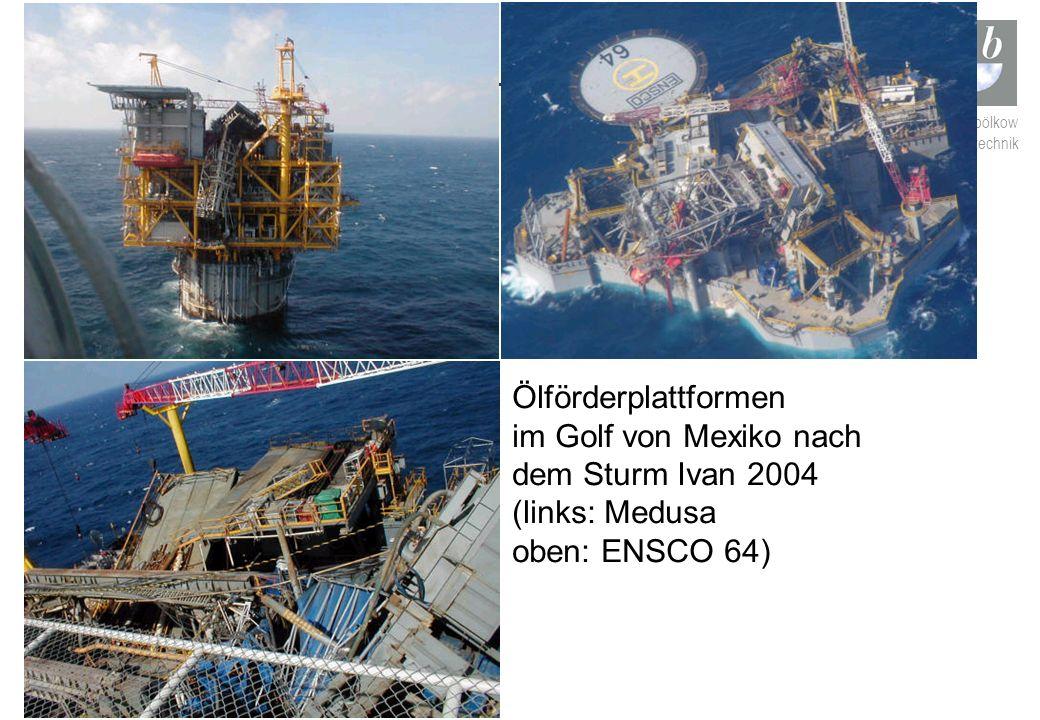 Ölförderplattformen im Golf von Mexiko nach dem Sturm Ivan 2004 (links: Medusa oben: ENSCO 64)