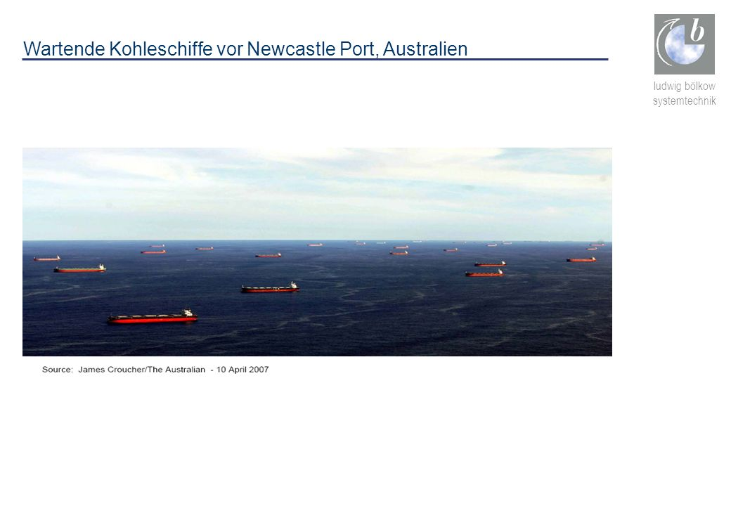 Wartende Kohleschiffe vor Newcastle Port, Australien