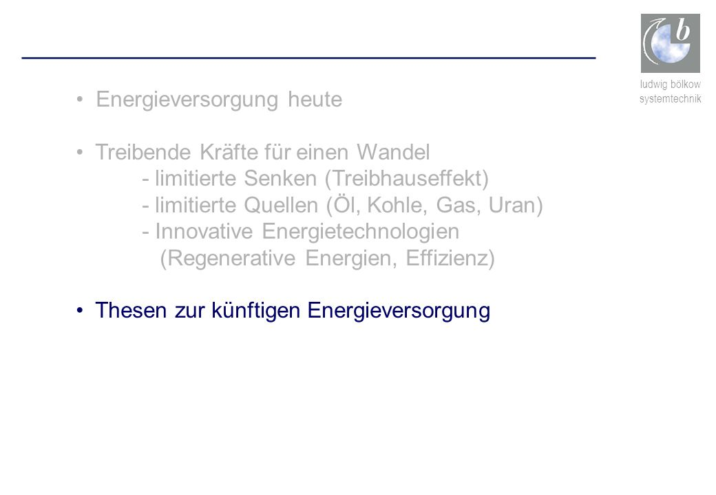 Energieversorgung heute