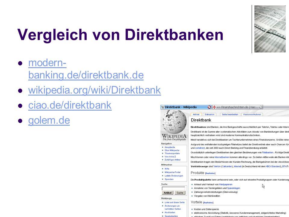 Vergleich von Direktbanken