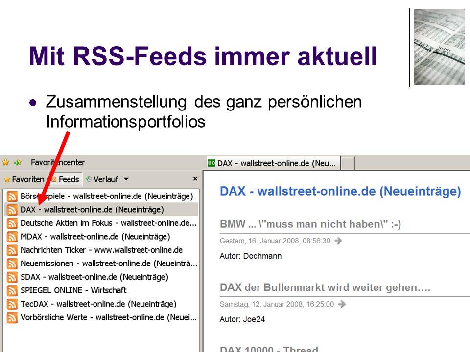 Mit RSS-Feeds immer aktuell