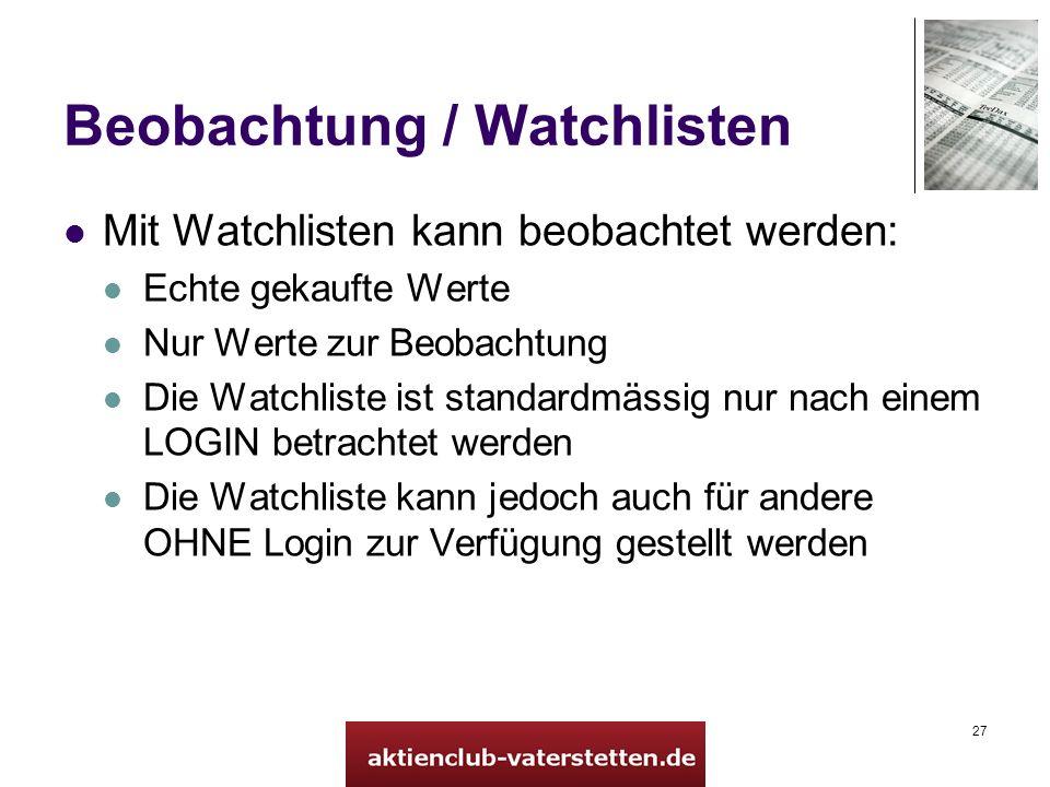 Beobachtung / Watchlisten