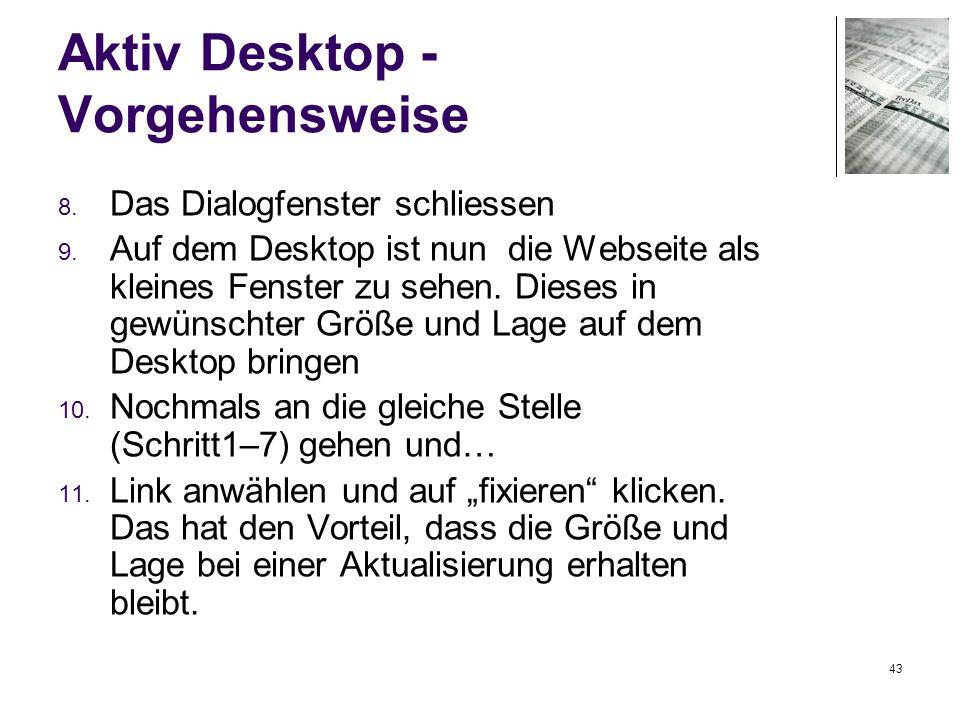 Aktiv Desktop - Vorgehensweise
