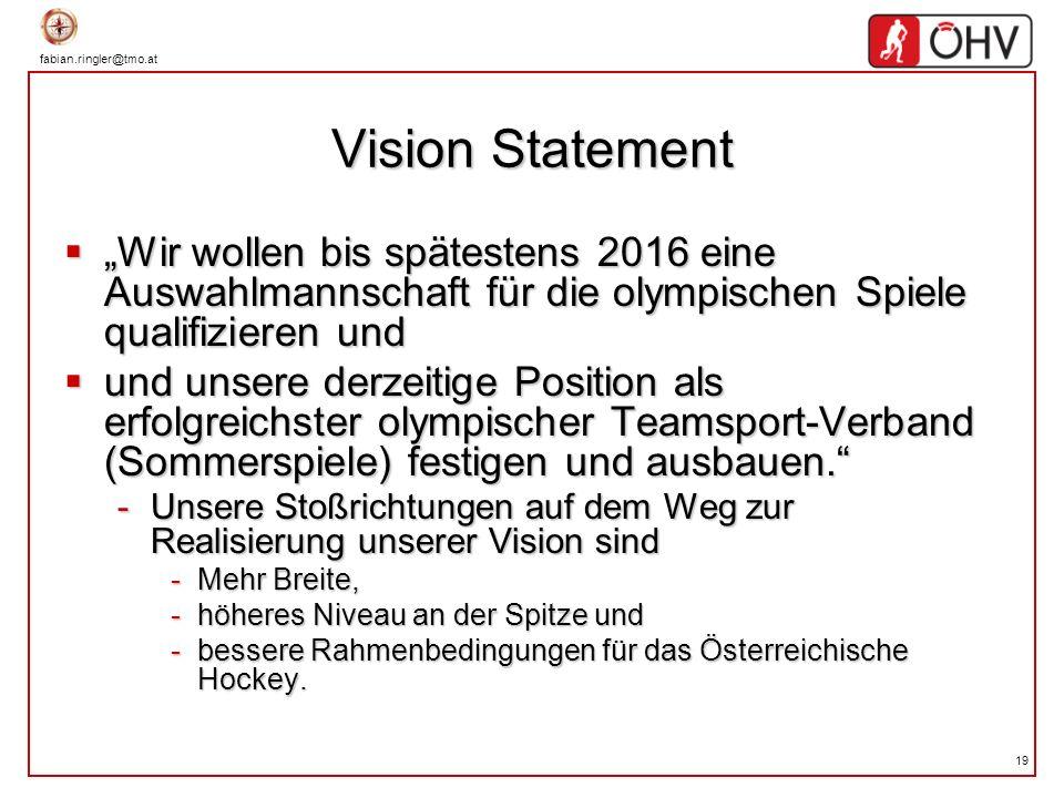 """Vision Statement """"Wir wollen bis spätestens 2016 eine Auswahlmannschaft für die olympischen Spiele qualifizieren und."""