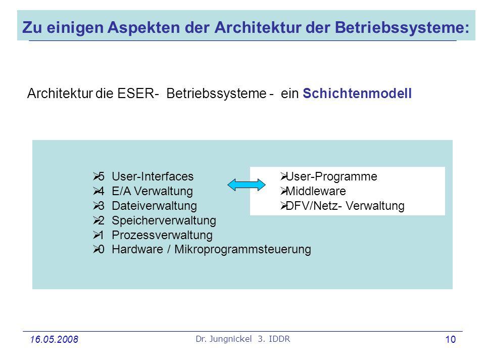 Zu einigen Aspekten der Architektur der Betriebssysteme: