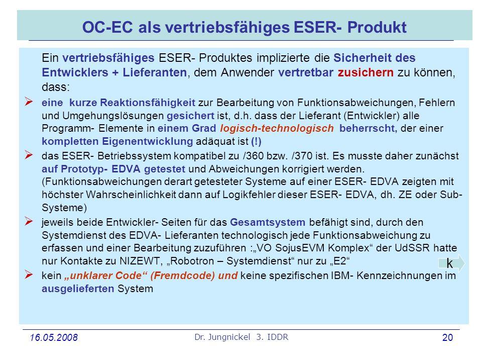 OC-EC als vertriebsfähiges ESER- Produkt