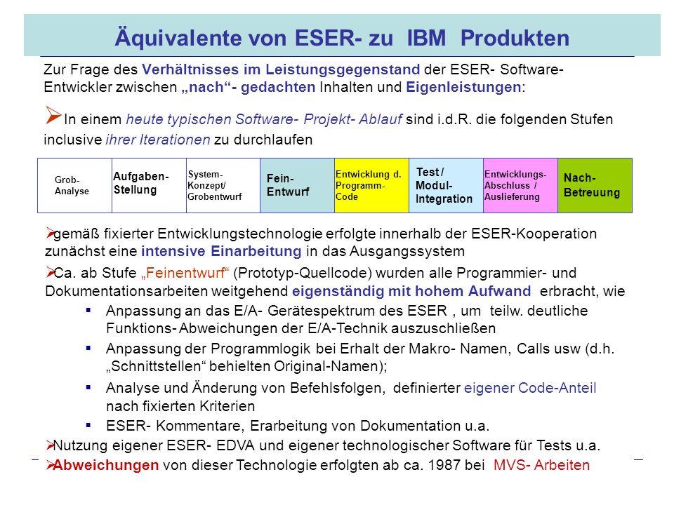 Äquivalente von ESER- zu IBM Produkten