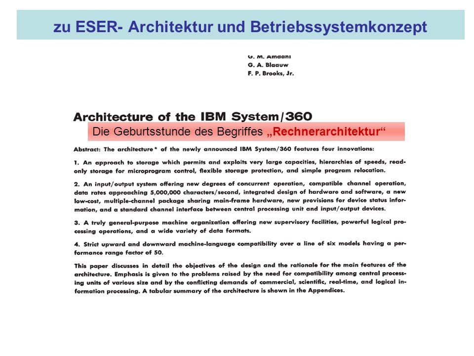 zu ESER- Architektur und Betriebssystemkonzept