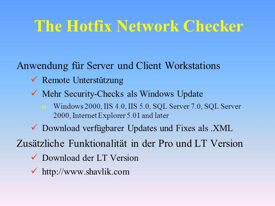 The Hotfix Network Checker
