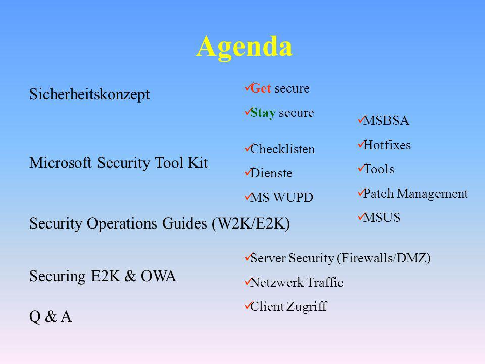 Agenda Sicherheitskonzept Microsoft Security Tool Kit