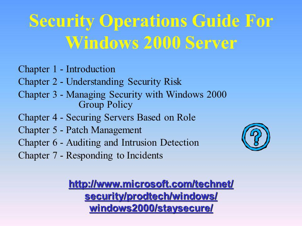 Security Operations Guide For Windows 2000 Server