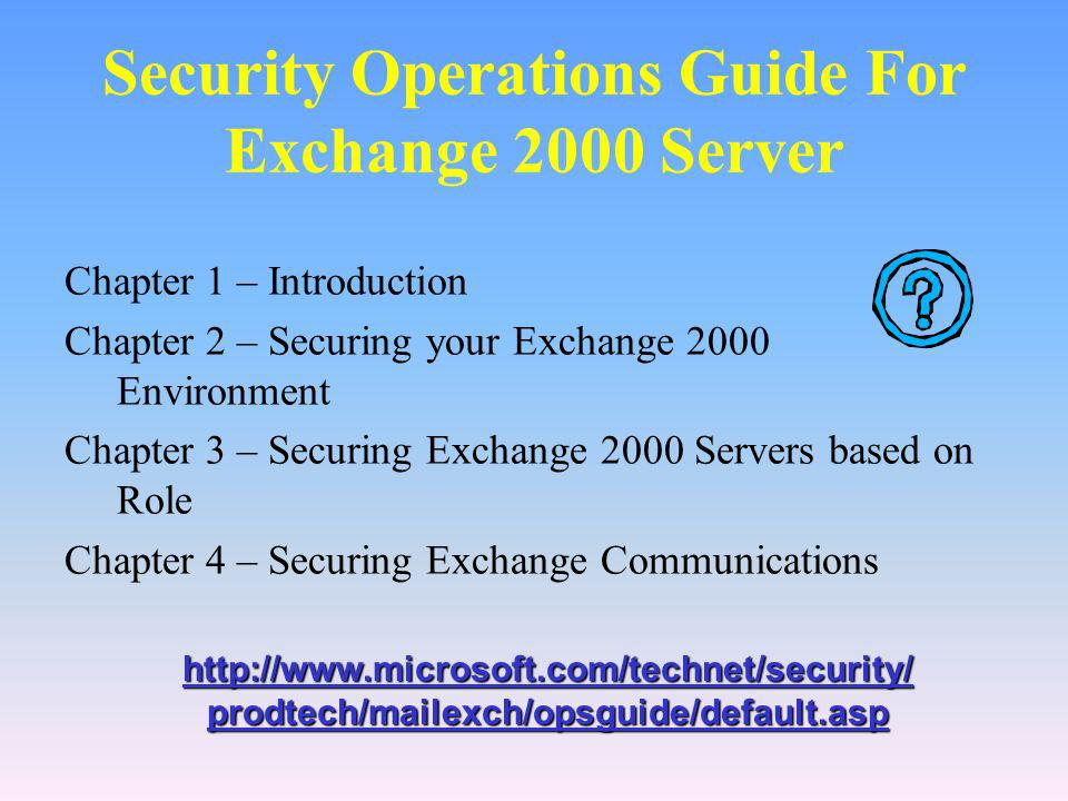 Security Operations Guide For Exchange 2000 Server