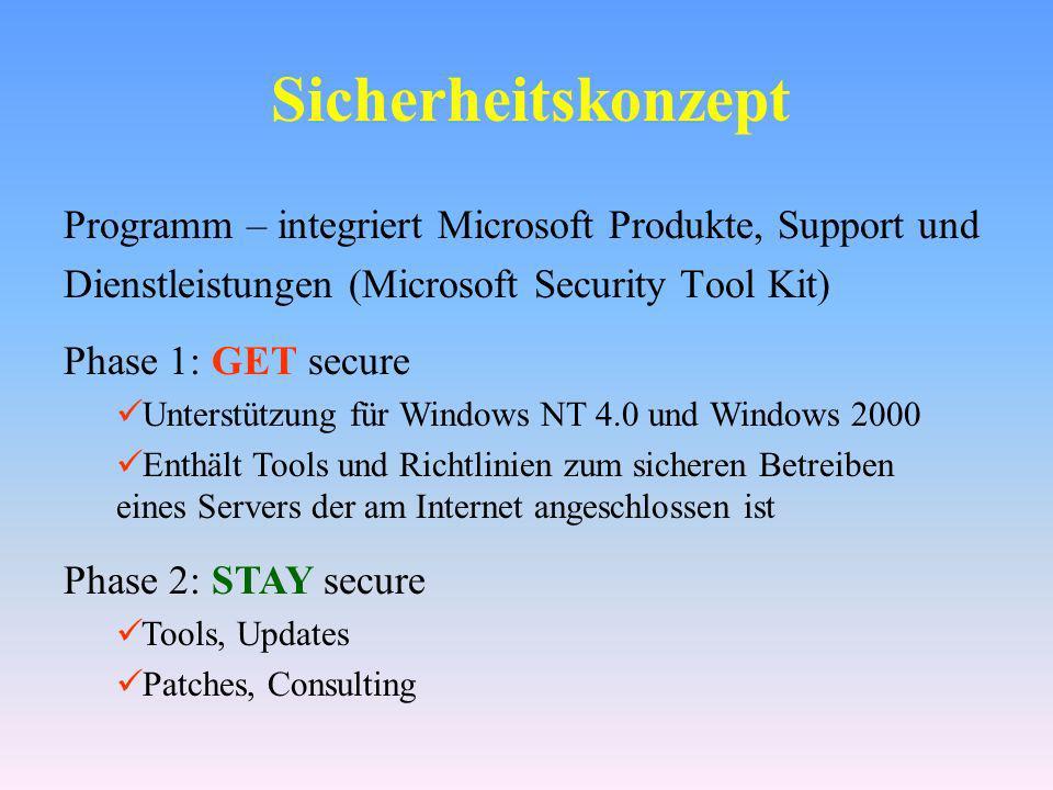 Sicherheitskonzept Programm – integriert Microsoft Produkte, Support und. Dienstleistungen (Microsoft Security Tool Kit)