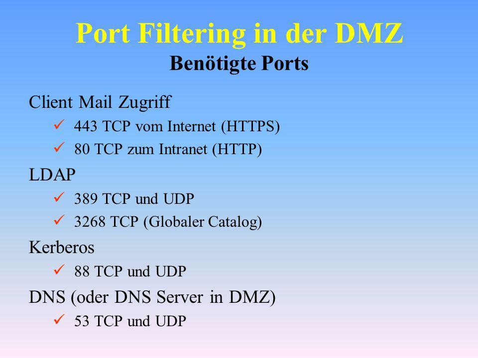 Port Filtering in der DMZ Benötigte Ports