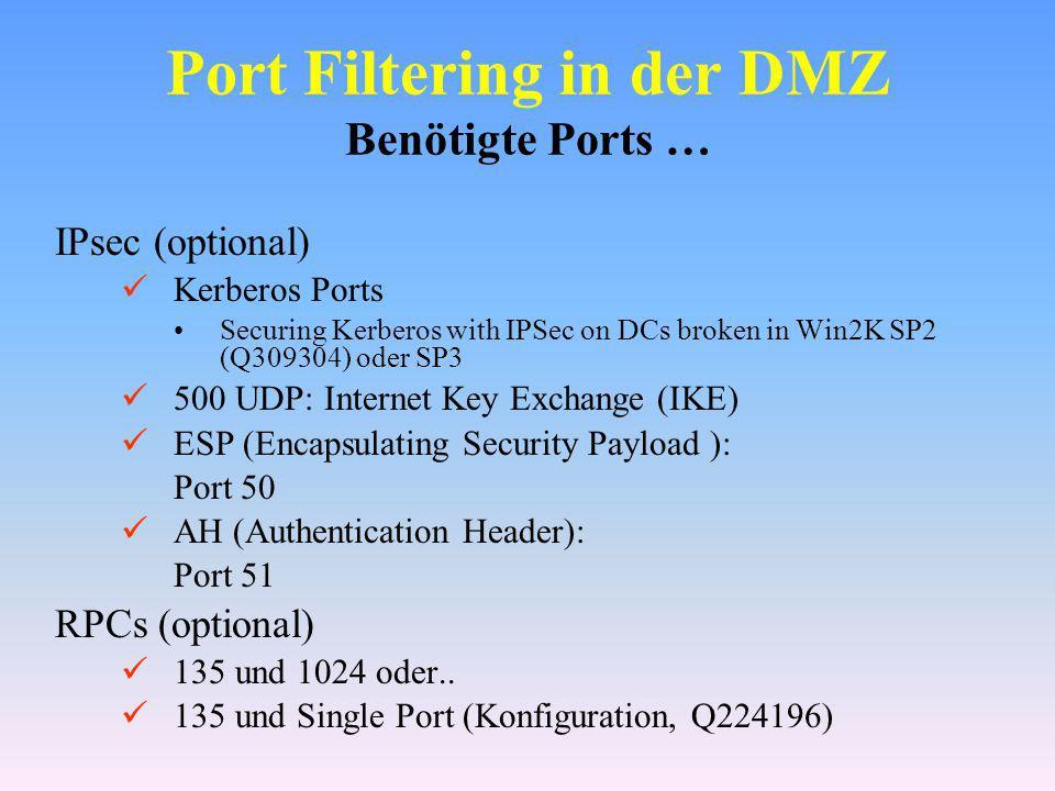 Port Filtering in der DMZ Benötigte Ports …