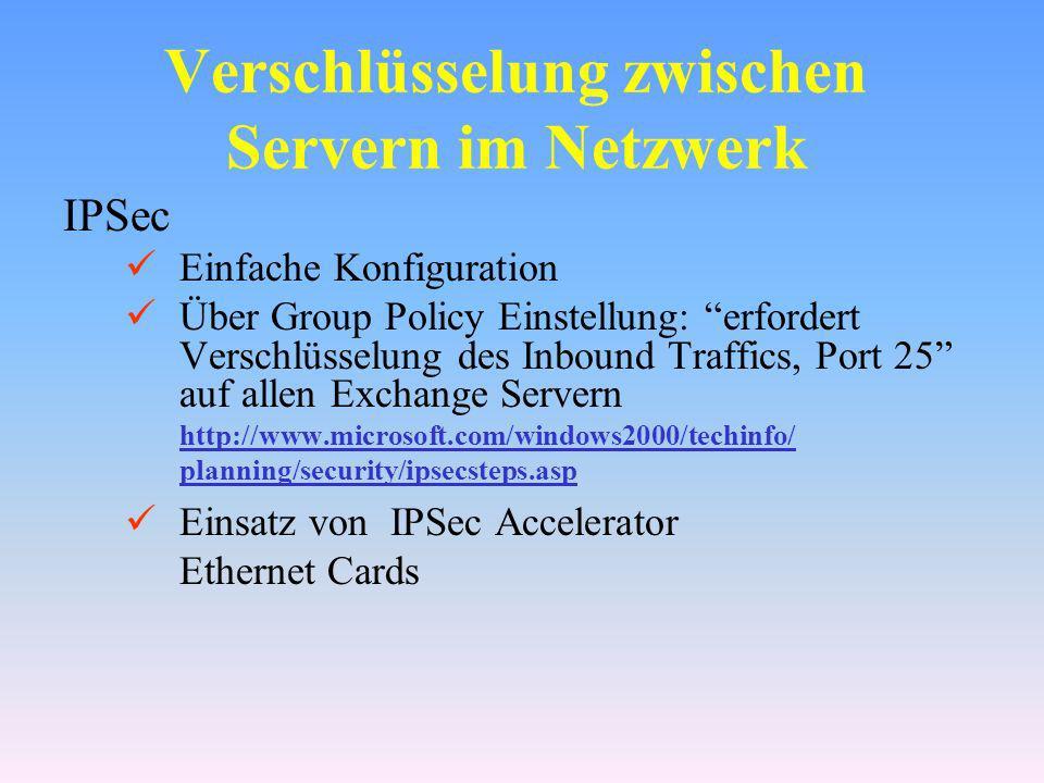 Verschlüsselung zwischen Servern im Netzwerk