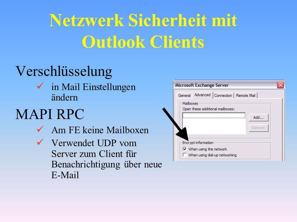 Netzwerk Sicherheit mit Outlook Clients