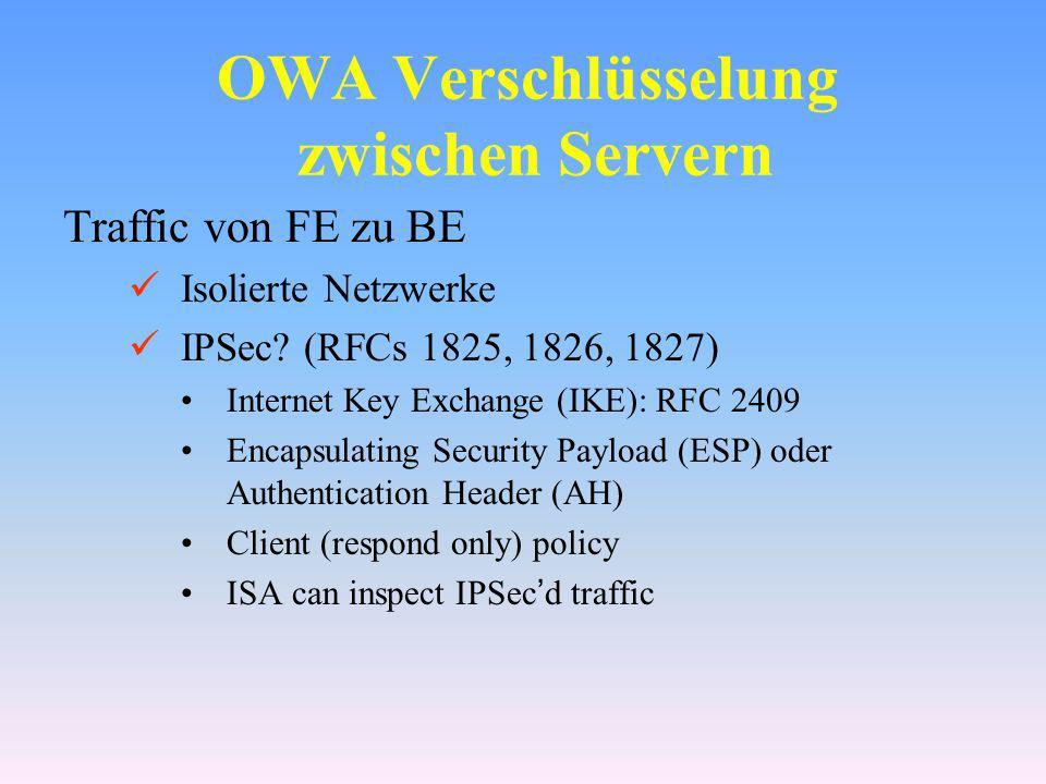 OWA Verschlüsselung zwischen Servern