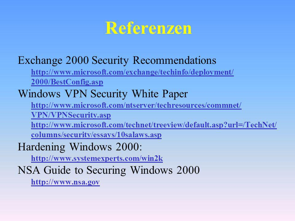 Referenzen Exchange 2000 Security Recommendations