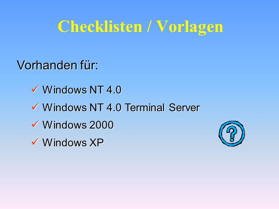 Checklisten / Vorlagen