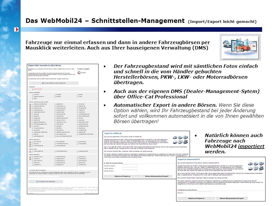 Das WebMobil24 – Schnittstellen-Management (Import/Export leicht gemacht)