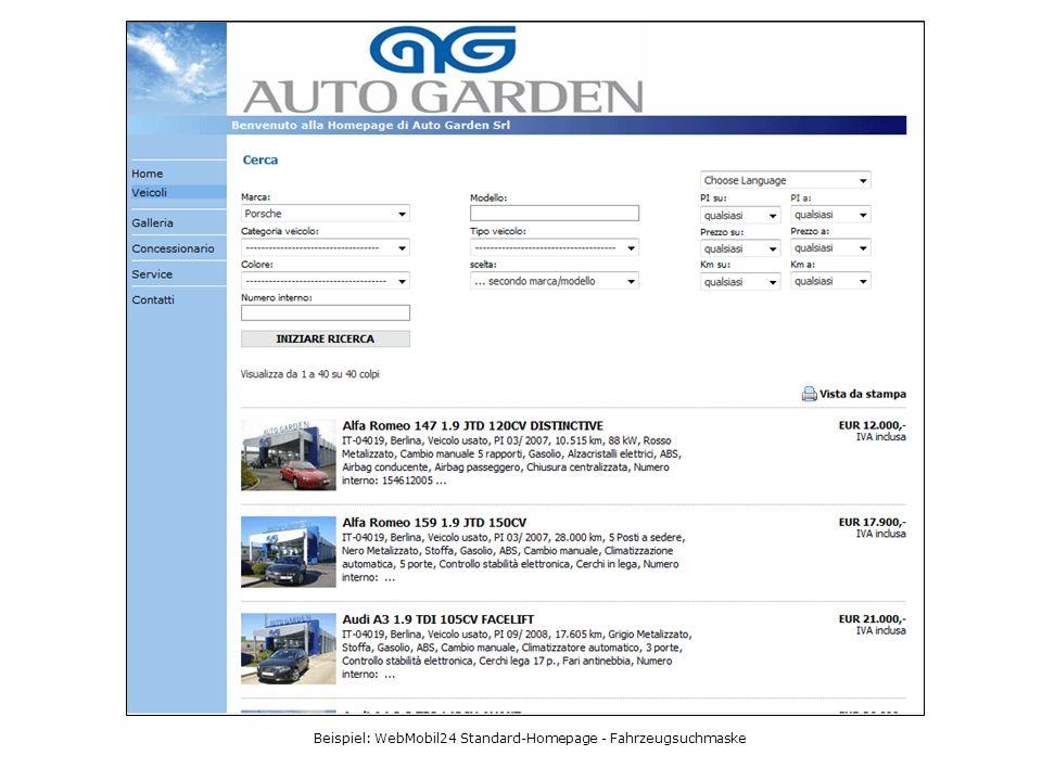 Beispiel: WebMobil24 Standard-Homepage - Fahrzeugsuchmaske