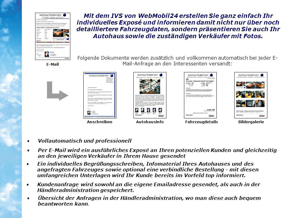 Mit dem IVS von WebMobil24 erstellen Sie ganz einfach Ihr individuelles Exposé und informieren damit nicht nur über noch detailliertere Fahrzeugdaten, sondern präsentieren Sie auch Ihr Autohaus sowie die zuständigen Verkäufer mit Fotos.