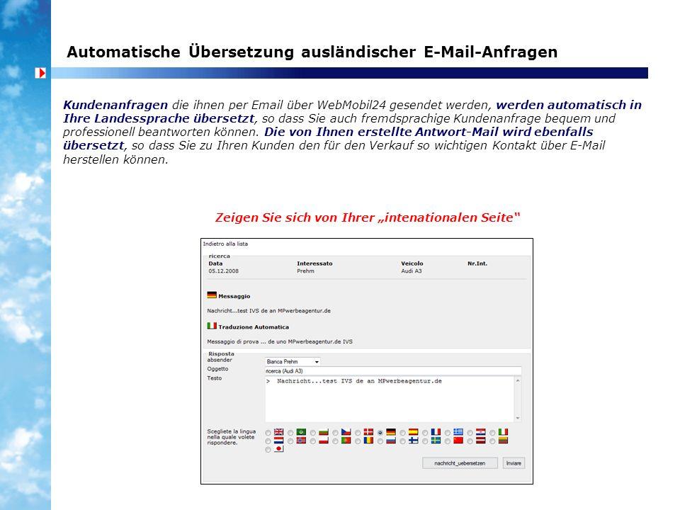 Automatische Übersetzung ausländischer E-Mail-Anfragen