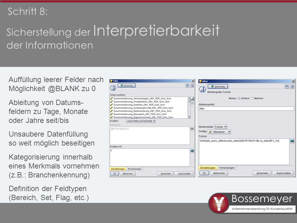 Sicherstellung der Interpretierbarkeit der Informationen