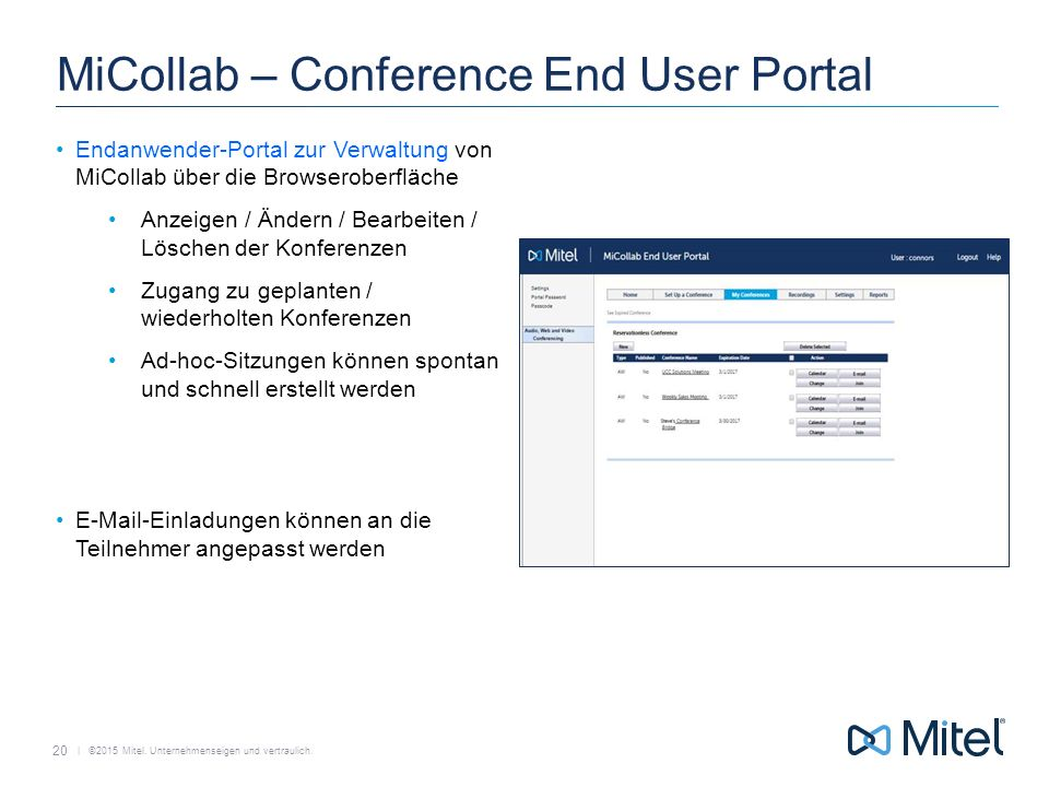 MiCollab – Conference End User Portal