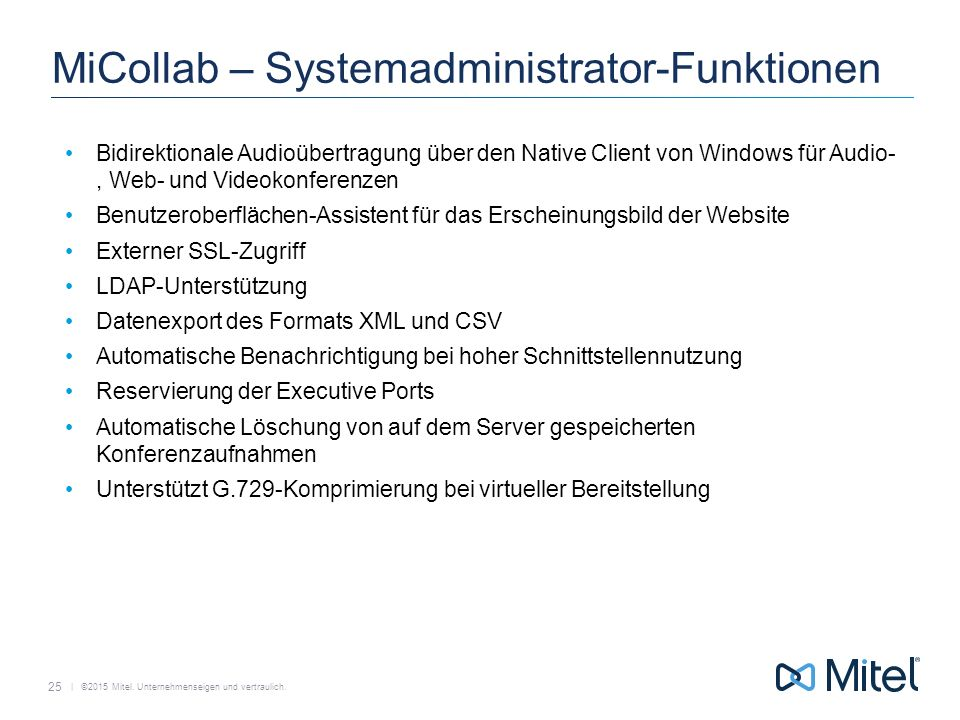 MiCollab – Systemadministrator-Funktionen