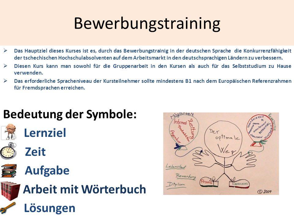 Bewerbungstraining Bedeutung der Symbole: Lernziel B Zeit C Aufgabe