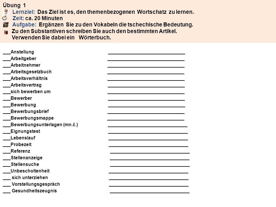 Übung 1 A Lernziel: Das Ziel ist es, den themenbezogenen Wortschatz zu lernen. B Zeit: ca. 20 Minuten C Aufgabe: Ergänzen Sie zu den Vokabeln die tschechische Bedeutung. Zu den Substantiven schreiben Sie auch den bestimmten Artikel. Verwenden Sie dabei ein Wörterbuch.