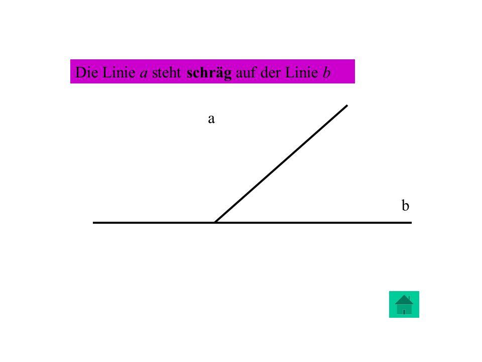 Die Linie a steht schräg auf der Linie b