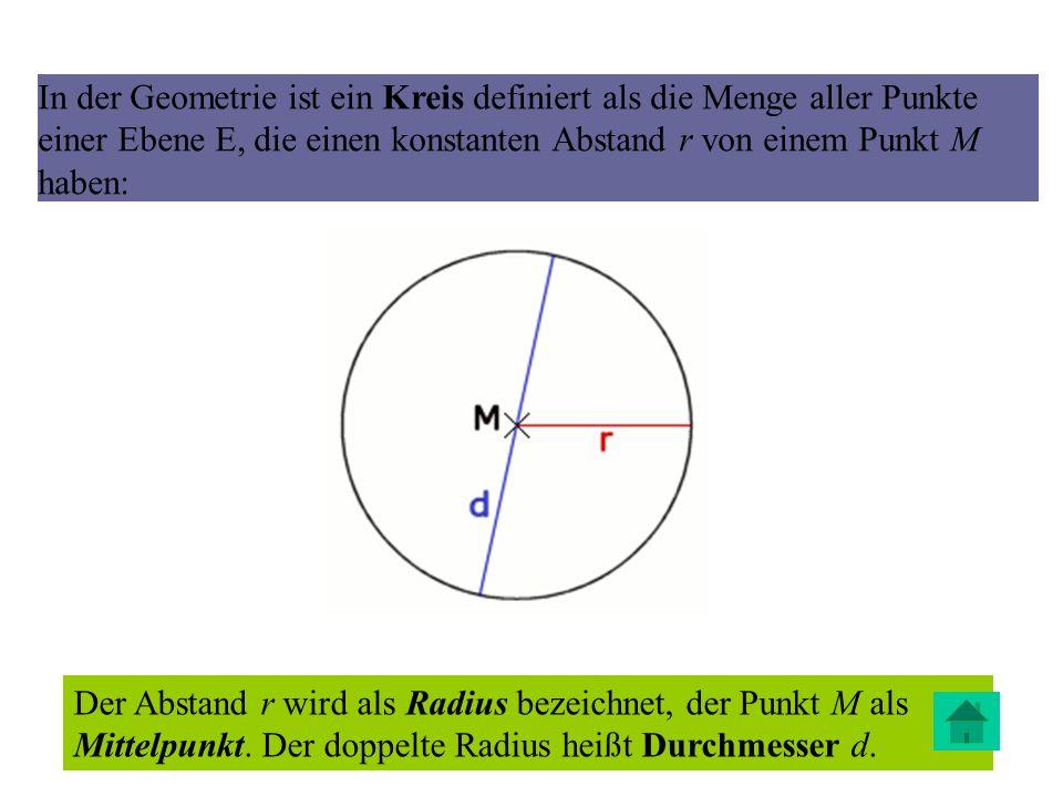 In der Geometrie ist ein Kreis definiert als die Menge aller Punkte einer Ebene E, die einen konstanten Abstand r von einem Punkt M haben: