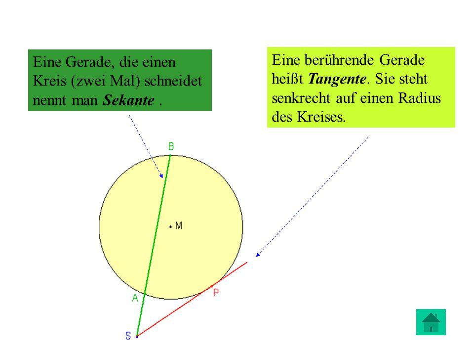 Eine Gerade, die einen Kreis (zwei Mal) schneidet nennt man Sekante .